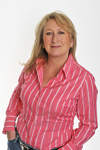 Lesley Everett with a pink shirt